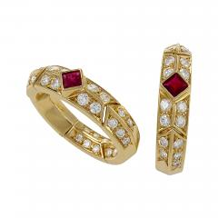 Van Cleef and Arpels Gold Ruby and Diamond Earrings by Van Cleef Arpels - 737250