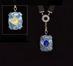 Van Cleef and Arpels Rare 1900s Platinum Diamond Set 18Kt Yg Cameo Pendant Watch - 591587