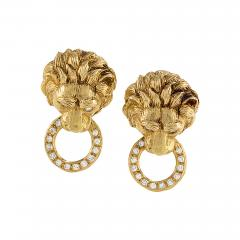 Van Cleef and Arpels Van Cleef Arpels Diamond and Gold Lion Head Door Knocker Earrings - 718860