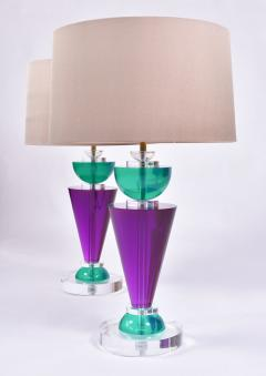 Van Teal Pair of Exotic American 80s purple turquoise and Lucite table light by Van Teal - 1452665