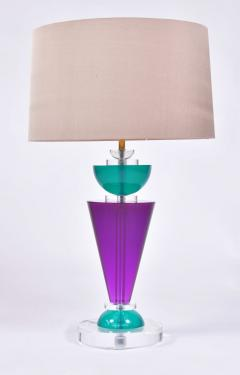Van Teal Pair of Exotic American 80s purple turquoise and Lucite table light by Van Teal - 1452666