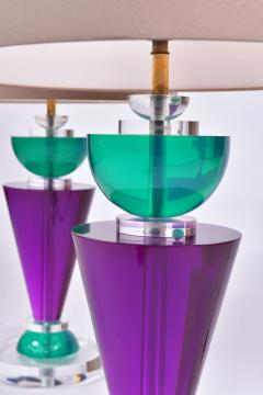 Van Teal Pair of Exotic American 80s purple turquoise and Lucite table light by Van Teal - 1452667