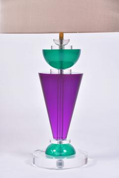 Van Teal Pair of Exotic American 80s purple turquoise and Lucite table light by Van Teal - 1452668