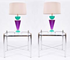 Van Teal Pair of Exotic American 80s purple turquoise and Lucite table light by Van Teal - 1452678