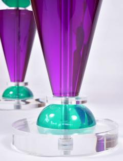 Van Teal Pair of Exotic American 80s purple turquoise and Lucite table light by Van Teal - 1452679