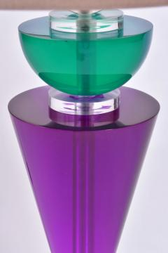 Van Teal Pair of Exotic American 80s purple turquoise and Lucite table light by Van Teal - 1452681