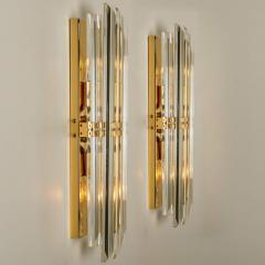 Venini 1 of the 4 Venini Style Murano Glass and Gilt Brass Sconces Italy - 1315026
