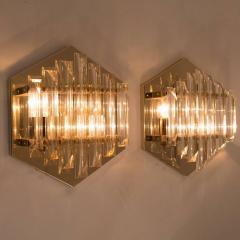 Venini 1 of the 5 Large Venini Style Glass Sconces with Triedi Crystals 1969 - 1318458