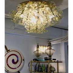 Venini 1970s Italian Buttercup Yellow Murano Glass Flower Brass Chandelier Flush Mount - 1183930