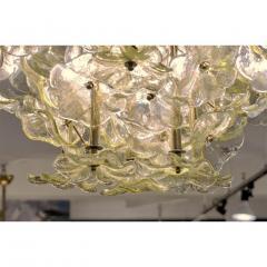 Venini 1970s Italian Buttercup Yellow Murano Glass Flower Brass Chandelier Flush Mount - 1183931
