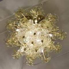 Venini 1970s Italian Buttercup Yellow Murano Glass Flower Brass Chandelier Flush Mount - 1183932
