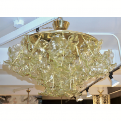 Venini 1970s Italian Buttercup Yellow Murano Glass Flower Brass Chandelier Flush Mount - 1183933