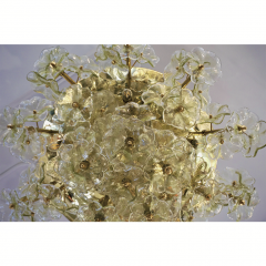 Venini 1970s Italian Buttercup Yellow Murano Glass Flower Brass Chandelier Flush Mount - 1183934