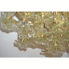 Venini 1970s Italian Buttercup Yellow Murano Glass Flower Brass Chandelier Flush Mount - 1183935