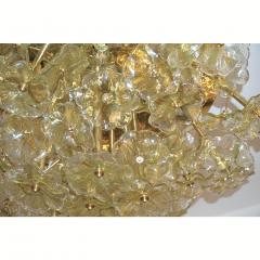 Venini 1970s Italian Buttercup Yellow Murano Glass Flower Brass Chandelier Flush Mount - 1183936