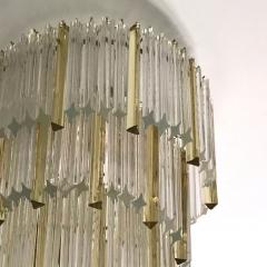 Venini 1970s Venini Italian Vintage Amber and Crystal Clear Murano Glass Chandelier - 1183893