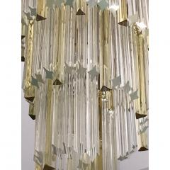 Venini 1970s Venini Italian Vintage Amber and Crystal Clear Murano Glass Chandelier - 1183897
