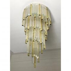 Venini 1970s Venini Italian Vintage Amber and Crystal Clear Murano Glass Chandelier - 1183898