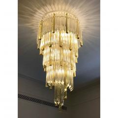 Venini 1970s Venini Italian Vintage Amber and Crystal Clear Murano Glass Chandelier - 1183899