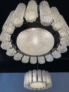 Venini A Pair Italian Modern Polished Nickel and Hand Blown Glass Chandeliers Venini - 1368751