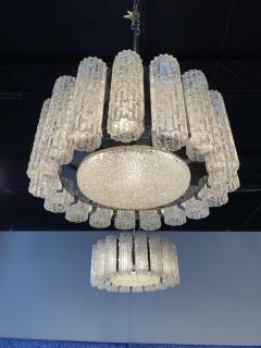 Venini A Pair Italian Modern Polished Nickel and Hand Blown Glass Chandeliers Venini - 1368752