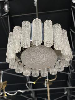 Venini A Pair Italian Modern Polished Nickel and Hand Blown Glass Chandeliers Venini - 1368755