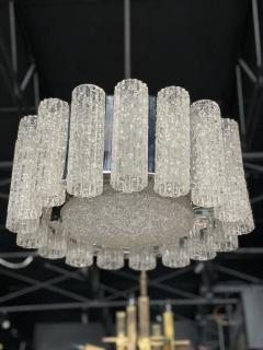Venini A Pair Italian Modern Polished Nickel and Hand Blown Glass Chandeliers Venini - 1368756