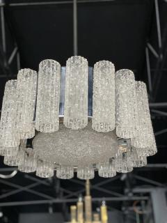 Venini A Pair Italian Modern Polished Nickel and Hand Blown Glass Chandeliers Venini - 1368757