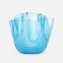 Venini CLEAR BLUE GLASS FAZZOLETTO VASE BY VENINI - 2169191