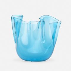 Venini CLEAR BLUE GLASS FAZZOLETTO VASE BY VENINI - 2169192