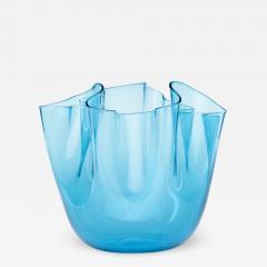 Venini CLEAR BLUE GLASS FAZZOLETTO VASE BY VENINI - 2169682