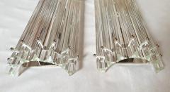Venini Clear Murano glass Mid Century Modern geometric sconces by Venini Italy 1970s - 1813385