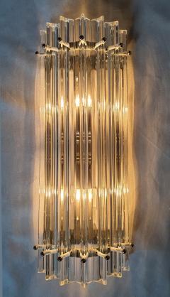 Venini Clear Murano glass Mid Century Modern geometric sconces by Venini Italy 1970s - 1813387