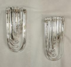 Venini Geometric Mid Century Modern curved clear Murano glass sconces by Venini Italy - 2031746