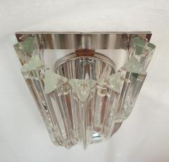 Venini Geometric Mid Century Modern curved clear Murano glass sconces by Venini Italy - 2031751