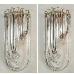 Venini Geometric Mid Century Modern curved clear Murano glass sconces by Venini Italy - 2031754