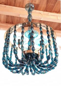 Venini Large Blue Murano glass chandelier Mid Century Modern Venini style 1960s - 1530509