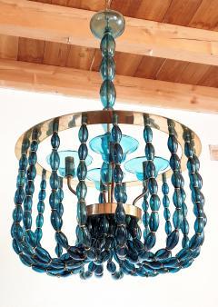 Venini Large Blue Murano glass chandelier Mid Century Modern Venini style 1960s - 1530510