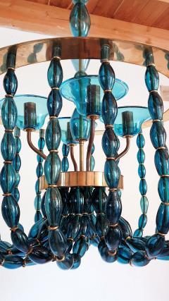 Venini Large Blue Murano glass chandelier Mid Century Modern Venini style 1960s - 1530511