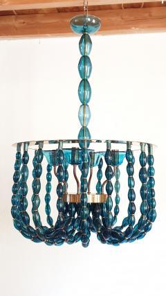 Venini Large Blue Murano glass chandelier Mid Century Modern Venini style 1960s - 1530512