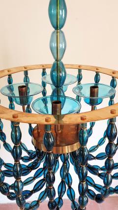 Venini Large Blue Murano glass chandelier Mid Century Modern Venini style 1960s - 1530514