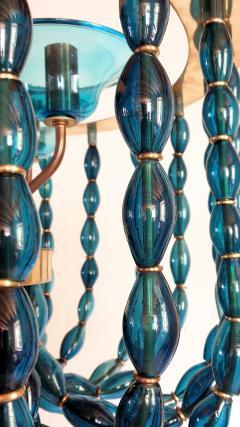 Venini Large Blue Murano glass chandelier Mid Century Modern Venini style 1960s - 1530515