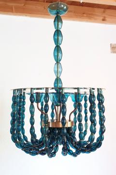 Venini Large Blue Murano glass chandelier Mid Century Modern Venini style 1960s - 1530516