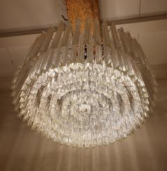Venini Large Drum Triedri Murano glass Mid Century Modern chandelier flush mount Venini - 2132081