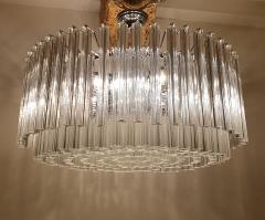 Venini Large Drum Triedri Murano glass Mid Century Modern chandelier flush mount Venini - 2132083