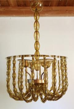 Venini Large Kaki Beige Murano Glass Chandelier Mid Century Modern Venini Style 1960s - 1530779