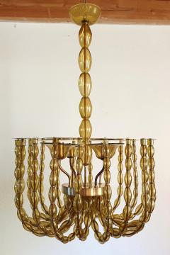 Venini Large Kaki Beige Murano Glass Chandelier Mid Century Modern Venini Style 1960s - 1530783