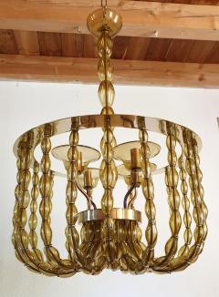 Venini Large Kaki Beige Murano Glass Chandelier Mid Century Modern Venini Style 1960s - 1530784
