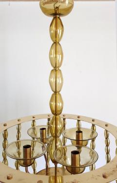 Venini Large Kaki Beige Murano Glass Chandelier Mid Century Modern Venini Style 1960s - 1530790