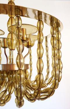 Venini Large Kaki Beige Murano Glass Chandelier Mid Century Modern Venini Style 1960s - 1530794